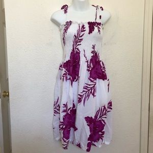 Hawaii White Floral Hibiscus Summer Dress